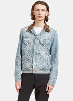 Gucci Men's Leopard Print Collared Graffiti Denim Jacket In Blue