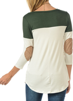 Magic Fit Olive Color Block Elbow Patch Tee