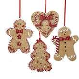 Kurt Adler Gingerbread Men, Tree And Heart Ornament Set OF 4