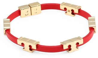 Tory Burch Goldtone Logo Leather Bracelet