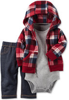 Carter's 3-Pc. Plaid Hoodie, Bodysuit & Jeans Set, Baby Boys (0-24 months)