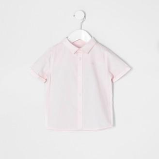 River Island Mini boys Pink short sleeve twill shirt