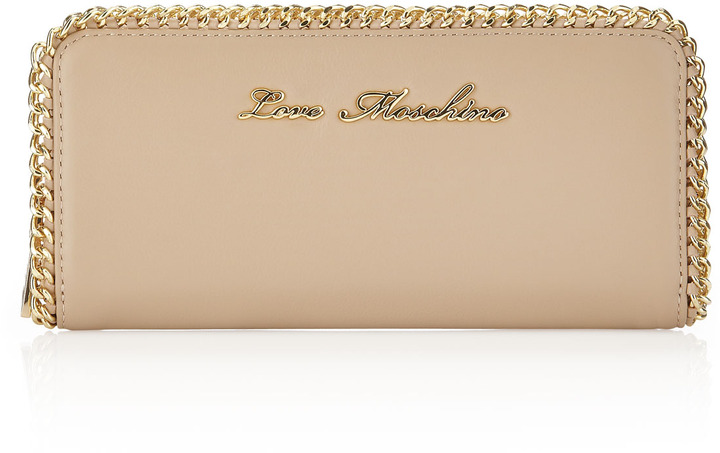 Moschino Chain-Trim Zip-Around Wallet, Beige