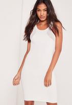 Missguided Mesh Panel Rib Racer Dress White
