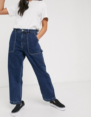 Monki Rio organic cotton wide leg jeans in blue