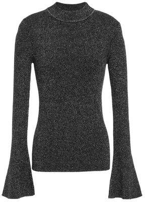 Diane von Furstenberg Metallic Ribbed Wool-blend Sweater