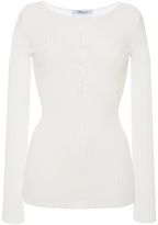 Blumarine Ivory Long Sleeve Ribbed Top