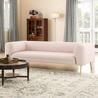 "Standard 86.75"" Round Arm Sofa Capsule Home Fabric: Indigo"