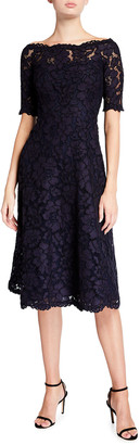 Rickie Freeman For Teri Jon Off-the-Shoulder 3/4-Sleeve Lace Dress
