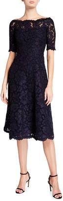 Rickie Freeman For Teri Jon Off-the-Shoulder 3/4-Sleeve Lace Dress