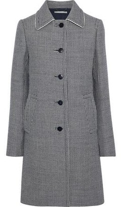 Stella McCartney Silk-trimmed Houndstooth Wool Coat