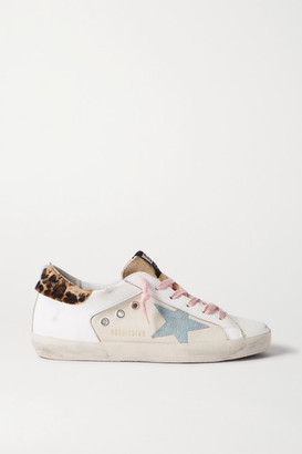 Golden Goose Superstar Distressed Leopard-print Calf Hair, Leather And Canvas Sneakers - White