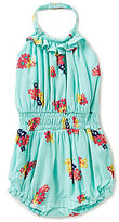 Jessica Simpson Baby Girls 12-24 Months Floral-Printed Ruffled Halter Romper