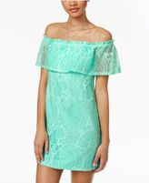 Speechless Juniors' Off-The-Shoulder Lace Dress