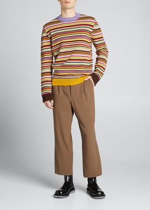 Marni Men's Distressed Multi-Stripe Crew Sweater