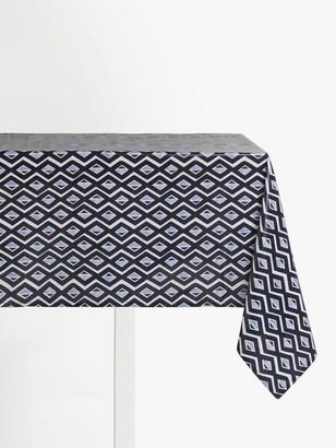John Lewis & Partners Wipe Clean PVC Diamond Print Tablecloth, Blue/Multi