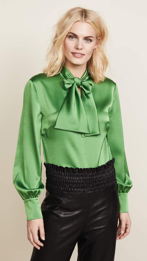 Diane von Furstenberg High Neck Tie Blouse