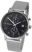 Sekonda 1195.27 Chronograph Date Bracelet Strap Watch, Silver/black