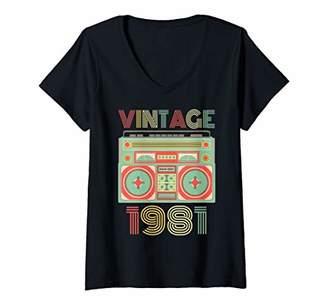 Womens Vintage 1981 Birthday Gift V-Neck T-Shirt