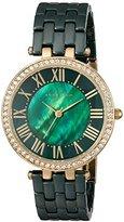 Anne Klein Women's AK/2130GNGB Swarovski Crystal Accented Gold-Tone and Green Ceramic Bracelet Watch