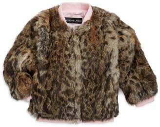 Adrienne Landau Little Girl's & Girl's Leopard Print Fur Varsity Jacket