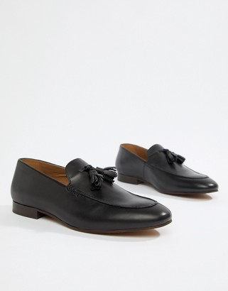 H By Hudson Bolton tassel loafers in black leather