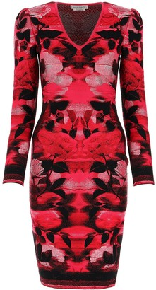 Alexander McQueen V-Neck Printed Fitted Dress