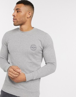Jack and Jones Originals badge logo crew neck sweat in gray
