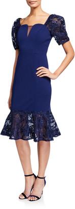 Aidan Mattox Short-Sleeve Crepe Dress with Lace Trumpet Skirt