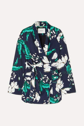 Erdem Stanford Floral-print Satin-twill Jacket - Navy