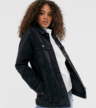 ASOS DESIGN Tall denim girlfriend jacket in washed black