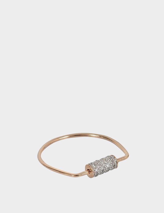 ginette_ny Mini Straw Diamond 18-karat rose gold ring