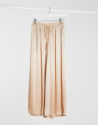 Glamorous relaxed wide leg trousers with drawstring waist in beige