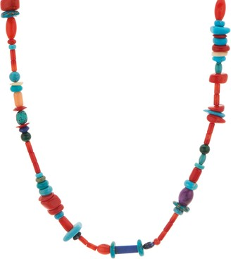 American West Freeform Bead Multi Gemstone Sterling Silver Necklace