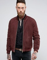 Asos Suede Bomber Jacket With Gold Zips In Burgundy
