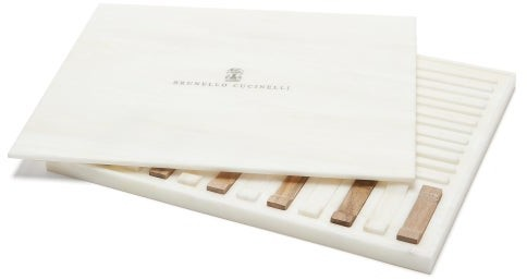 Brunello Cucinelli Set Of Six Walnut-wood And Faux-marble Chopsticks - Brown White