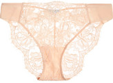 La Perla Lace Story Leavers Lace, Tulle And Satin Briefs - Blush