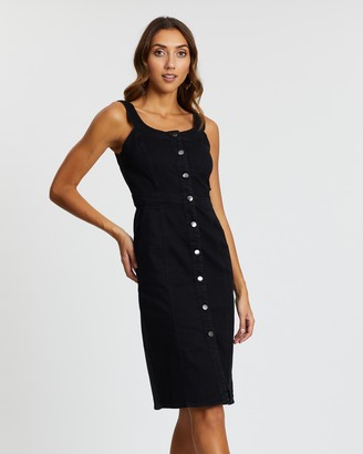 Dorothy Perkins Fitted Button Cotton Blend Midi Dress