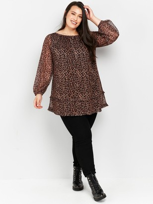 Evans Animal Tiered Tunic Top - Multi