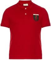 Gucci Snake-crest Cotton-blend Polo Shirt