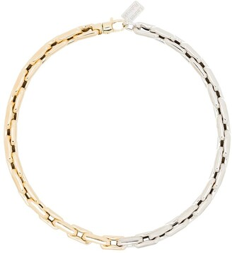 LAUREN RUBINSKI 14kt Gold Two-Tone Chain-Link Necklace