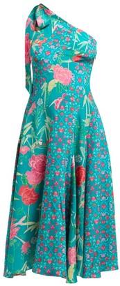 Beulah Bipasha One-shoulder Floral-print Silk Dress - Green Multi