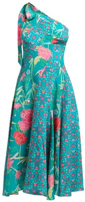 Beulah - Bipasha One-shoulder Floral-print Silk Dress - Womens - Green Multi
