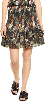 Rebecca Minkoff Tropical Print Smocked Ruffle Skirt