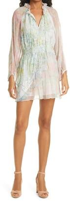 LoveShackFancy Glass Floral Print Long Sleeve Minidress