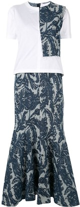 Junya Watanabe denim brocade panel T-shirt