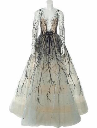 Reem Acra V-Neck Long Dress Blue