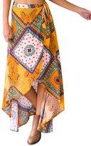 OCHENTA Women's Boho Floral Print High Waist Summer Beach Wrap Maxi Skirt Cover Up - Tag XL