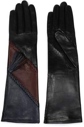 Agnelle Whipstitch-trimmed Color-block Leather Gloves