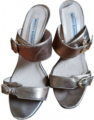 Manolo Blahnik Silver Leather Sandals